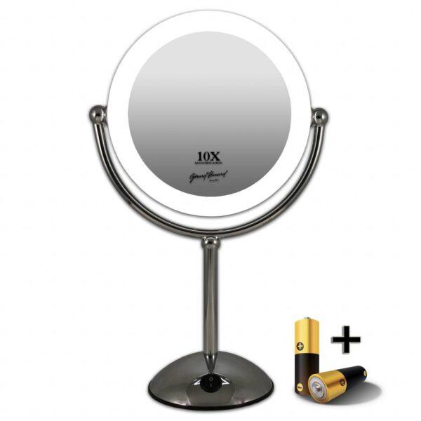 Metalen Make-up led spiegel 10x vergroting 22 cm